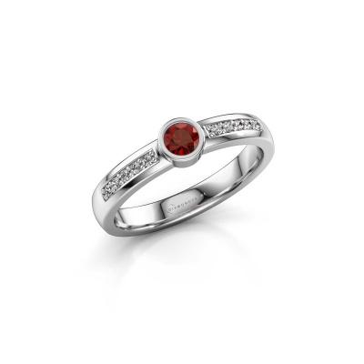 Engagement ring Ise 2 585 white gold garnet 3.7 mm