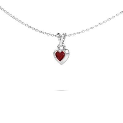Hanger Charlotte Heart 925 zilver robijn 4 mm