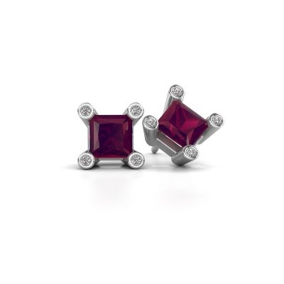 Picture of Stud earrings Cornelia Square 925 silver rhodolite 6 mm