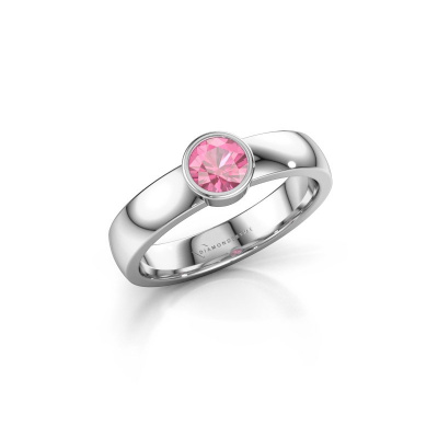 Ring Ise 1 585 witgoud roze saffier 4.7 mm