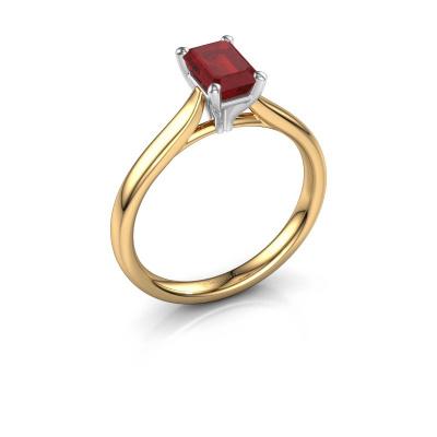 Foto van Verlovingsring Mignon eme 1 585 goud robijn 6.5x4.5 mm