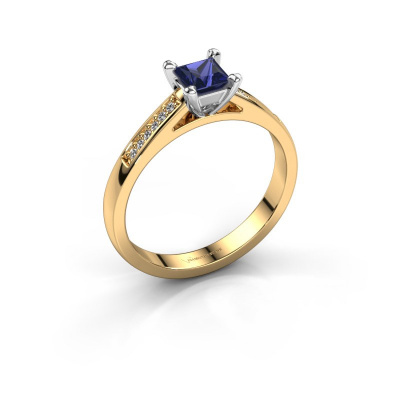 Engagement ring Nynke SQR 585 gold sapphire 4 mm