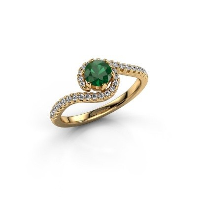 Engagement ring Elli 375 gold emerald 5 mm