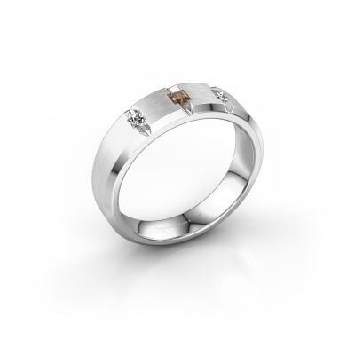 Mannen ring Justin 950 platina bruine diamant 0.20 crt