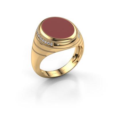 Signet ring Luuk 585 gold red enamel 15x12 mm