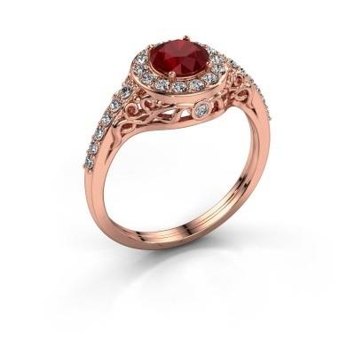 Foto van Ring Yurani 375 rosé goud robijn 6 mm
