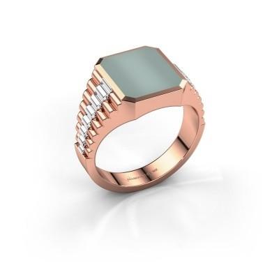 Foto van Rolex stijl ring Brent 2 585 rosé goud groene lagensteen 12x10 mm
