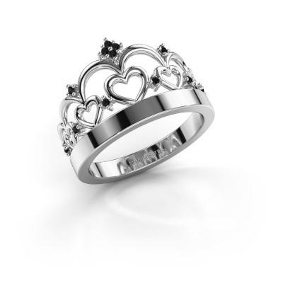 Foto van Ring Kroon 1 925 zilver zwarte diamant 0.072 crt