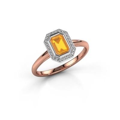 Verlovingsring Noud 1 EME 585 rosé goud citrien 6x4 mm