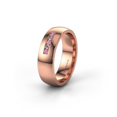 Wedding ring WH0107L26BP 375 rose gold pink sapphire ±0.24x0.08 in