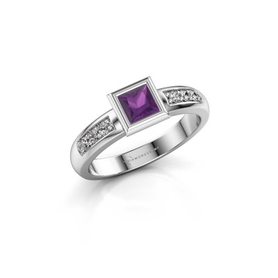 Stacking ring Lieke Square 925 silver amethyst 4 mm