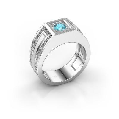 Foto van Heren ring Lando 925 zilver blauw topaas 4.7 mm