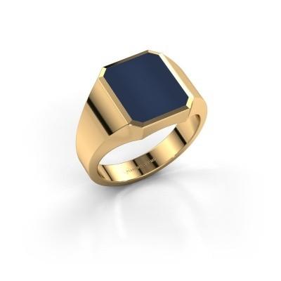 Foto van Zegelring Lars 2 375 goud donker blauw lagensteen 12x10 mm