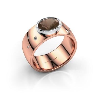 Ring Wilma 2 585 rosé goud rookkwarts 8x6 mm