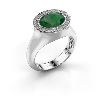 Ring Phebe 925 silver emerald 10x8 mm