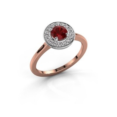 Foto van Ring Agaat 1 585 rosé goud robijn 5 mm