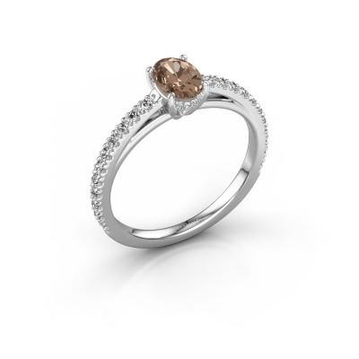 Foto van Verlovingsring Haley OVL 2 925 zilver bruine diamant 0.929 crt