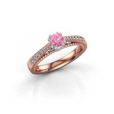 Verlovingsring Rozella 585 rosé goud roze saffier 4.2 mm
