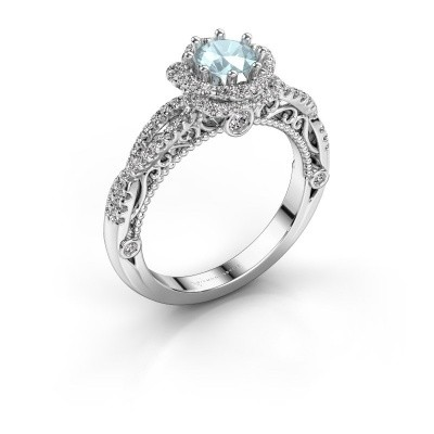 Engagement ring Lysanne 950 platinum aquamarine 5 mm