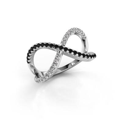 Ring Alycia 2 925 silver black diamond 0.496 crt