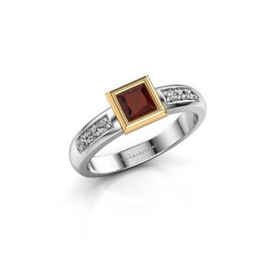 Stacking ring Lieke Square 585 white gold garnet 4 mm