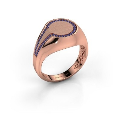 Heren ring Gijs 375 rosé goud saffier 1 mm
