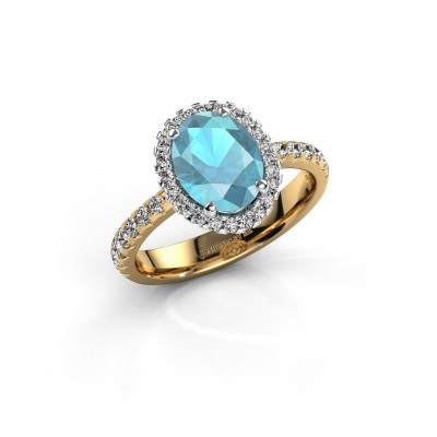Verlovingsring Lavelle 585 goud blauw topaas 9x7 mm