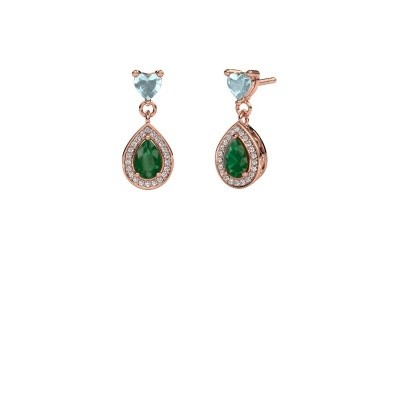 Picture of Drop earrings Susannah 375 rose gold emerald 6x4 mm
