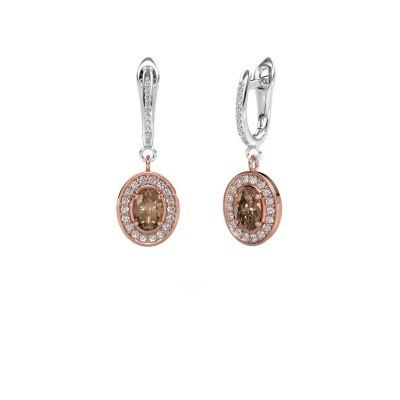Foto van Oorhangers Layne 2 585 rosé goud bruine diamant 1.99 crt