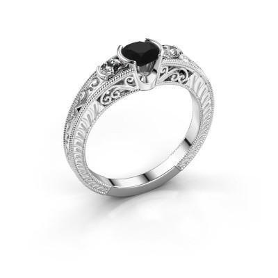 Promise ring Tasia 950 platina zwarte diamant 0.80 crt
