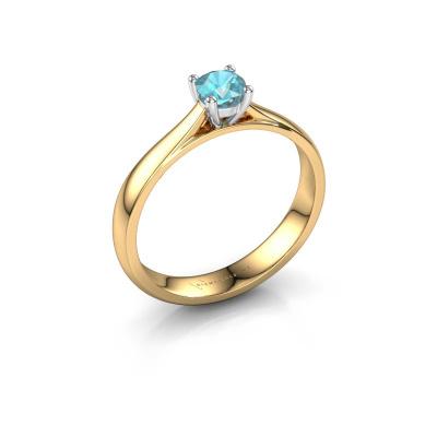 Engagement ring Sam 585 gold blue topaz 4.2 mm