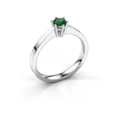 Foto van Verlovingsring Noortje 585 witgoud smaragd 4 mm