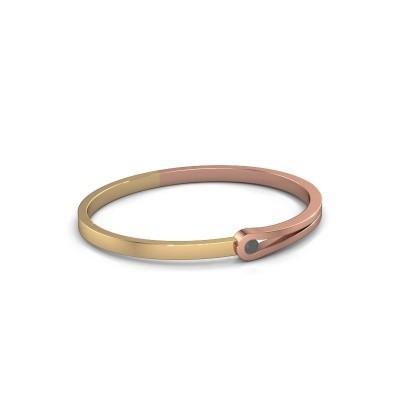 Slavenarmband Kiki 585 rosé goud zwarte diamant 0.30 crt