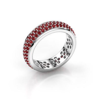 Ring Tara 585 witgoud robijn 1.3 mm