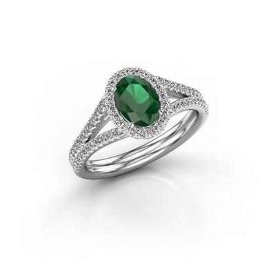 Foto van Verlovingsring Rachele 2 585 witgoud smaragd 7x5 mm