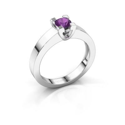 Promise ring Anne 1 950 platina amethist 4.7 mm