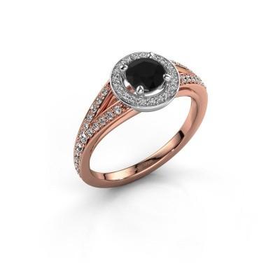 Aanzoeksring Angelita RND 585 rosé goud zwarte diamant 0.932 crt