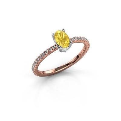 Foto van Verlovingsring Lynelle 2 585 rosé goud gele saffier 6x4 mm