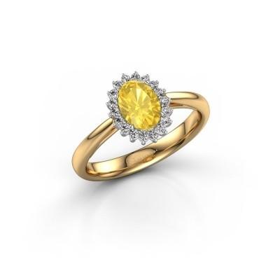 Foto van Verlovingsring Tilly 1 585 goud gele saffier 7x5 mm
