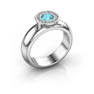 Picture of Stacking ring Anna 925 silver blue topaz 5 mm