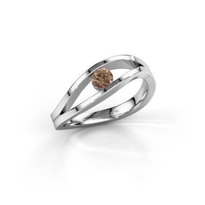 Foto van Aanzoeksring Sigrid 1 950 platina bruine diamant 0.20 crt