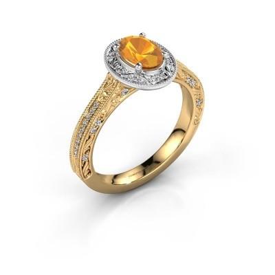 Verlovingsring Alice OVL 585 goud citrien 7x5 mm