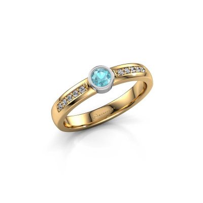 Engagement ring Ise 2 585 gold blue topaz 3.7 mm