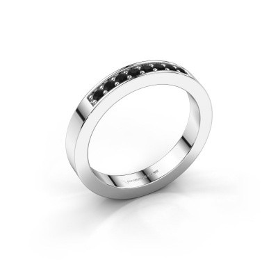 Stackable ring Loes 5 925 silver black diamond 0.192 crt