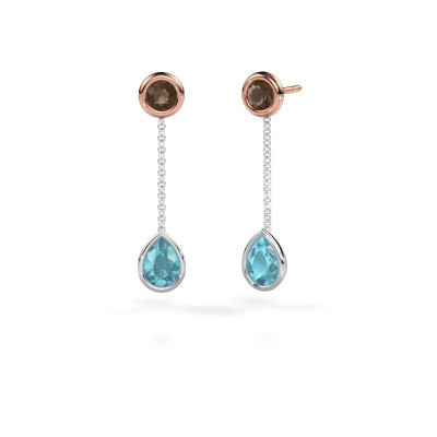 Drop earrings Ladawn 585 white gold blue topaz 7x5 mm