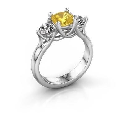 Engagement ring Esila 950 platinum yellow sapphire 6.5 mm