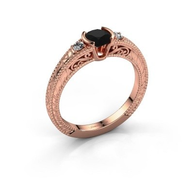 Photo de Bague de fiançailles Anamaria 375 or rose diamant noir 0.69 crt