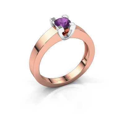 Promise ring Anne 1 585 rosé goud amethist 4.7 mm