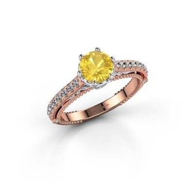 Foto van Verlovingsring Venita 585 rosé goud gele saffier 6.5 mm