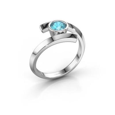 Ring Mara 585 witgoud blauw topaas 5 mm